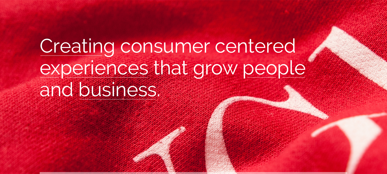 Creating consumer centered experiences that grow people and business.
